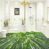 400cmX280cm Custom large-scale murals bamboo security safe fresh beauty stereo bathroom floor thickening waterproof wear pvc film,400cmX280cm