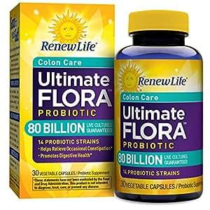 Renew Life Colon Care Probiotic, Ultimate Flora, 80 Billion, 30 Capsules