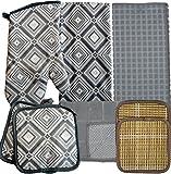 Tjndn, Inc Kitchen Linens Bundle of 8 Items - Matching Kitchen Towel, Oven Mitt, Pot Holders,Dish Cloths, Dish Drying Mat and Bonus Bamboo Hot Pads (Gray Diamond Geometric)
