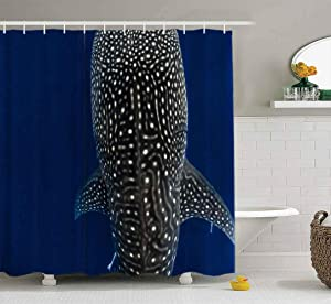 Capsceoll Fabric Shower Curtain, Bathroom Shower Curtain Whale Shark Closeup Top View 72X72 Inches with Hooks Fabric Bath Shower Curtain