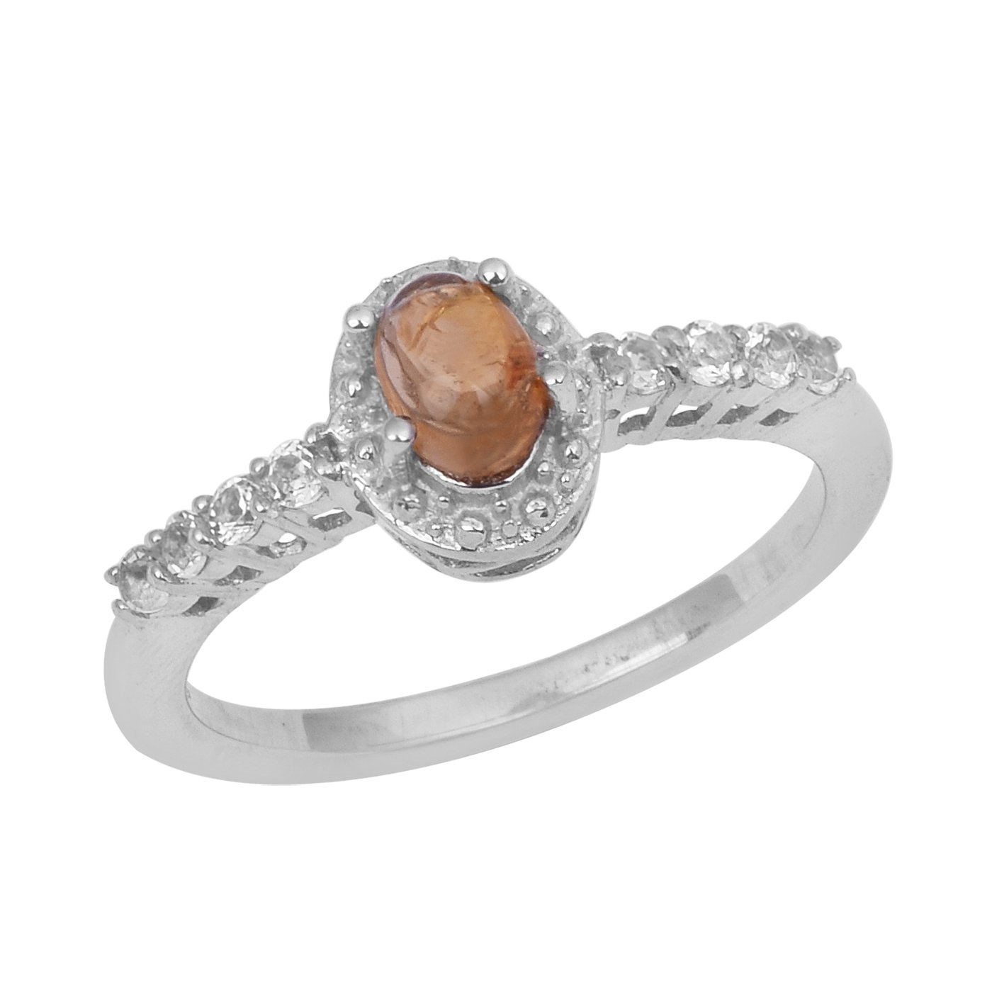 Pink Rutile Quartz /& White Topaz 925 Sterling Silver Solitaire Accents Halo Engagement Rings for Her