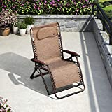 PURPLE LEAF Zero Gravity Oversize Patio Outdoor Lounger Chair Extra Wide Padded Adjustable Recliner Patio Lounger Chair, 43.3''(H) X 24.4''(W) X 20.8''(D)