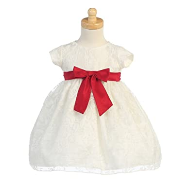 7cb66f2b4e5f Amazon.com: Lito Ivory Organza Burnout Red Bow Baby Girl Christmas ...