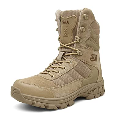 45dd05734 Suetar Mens high-top Military Hiking Boots Autumn and Winter Waterproof  Sand-Proof and Non-Slip Tactical Desert Trekking Shoes for Men   Amazon.co.uk  Shoes ...