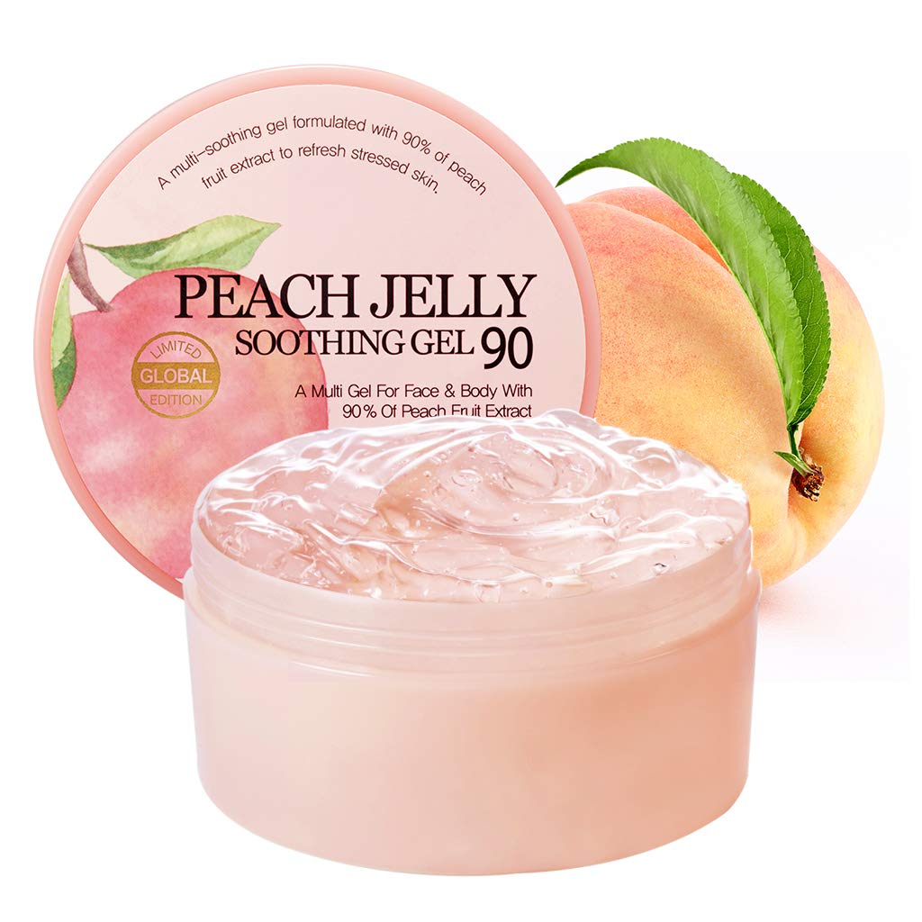 SKINFOOD Peach Jelly Soothing Gel 10.14 oz (300ml) - 90% Peach Face & Body Moisturizing Gel, Refreshing and Vitalizing without Stickiness