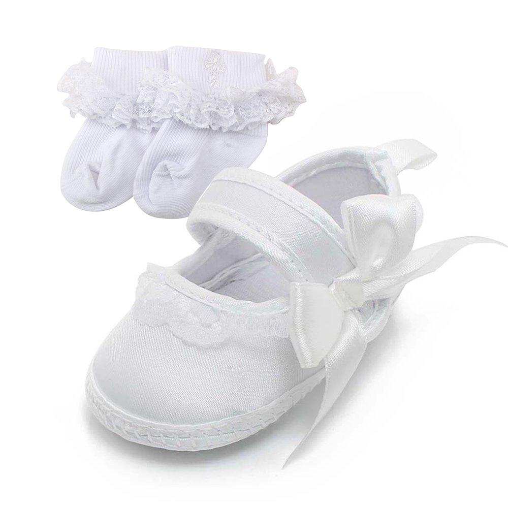 DELEBAO Zapatos Bebé Niña con Suela Suave Zapatillas Bebe Blancos Calzado para Bautizo Niñas