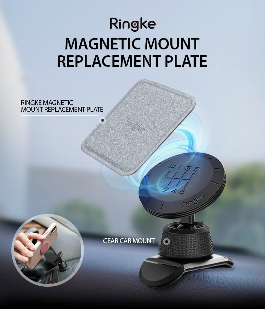 Assorted Colors 6 Pack, 3 Square and 3 Round Ringke Magnetic Mount Replacement Metal Plate Kit with 3M Adhesive Pad and Universally Compatible for Magnet Phone Car Holder Cradle