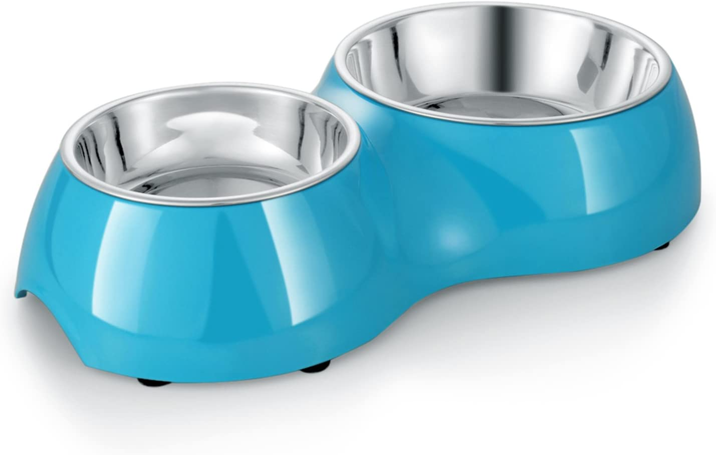 Flexzion Pet Feeder Feeding Drinking Stand Tray Station with Stable Plastic Dual Double Diner Stainless Steel Bowls Removable Dishes Food Water Holder for Dog Cat Puppies (Blue)
