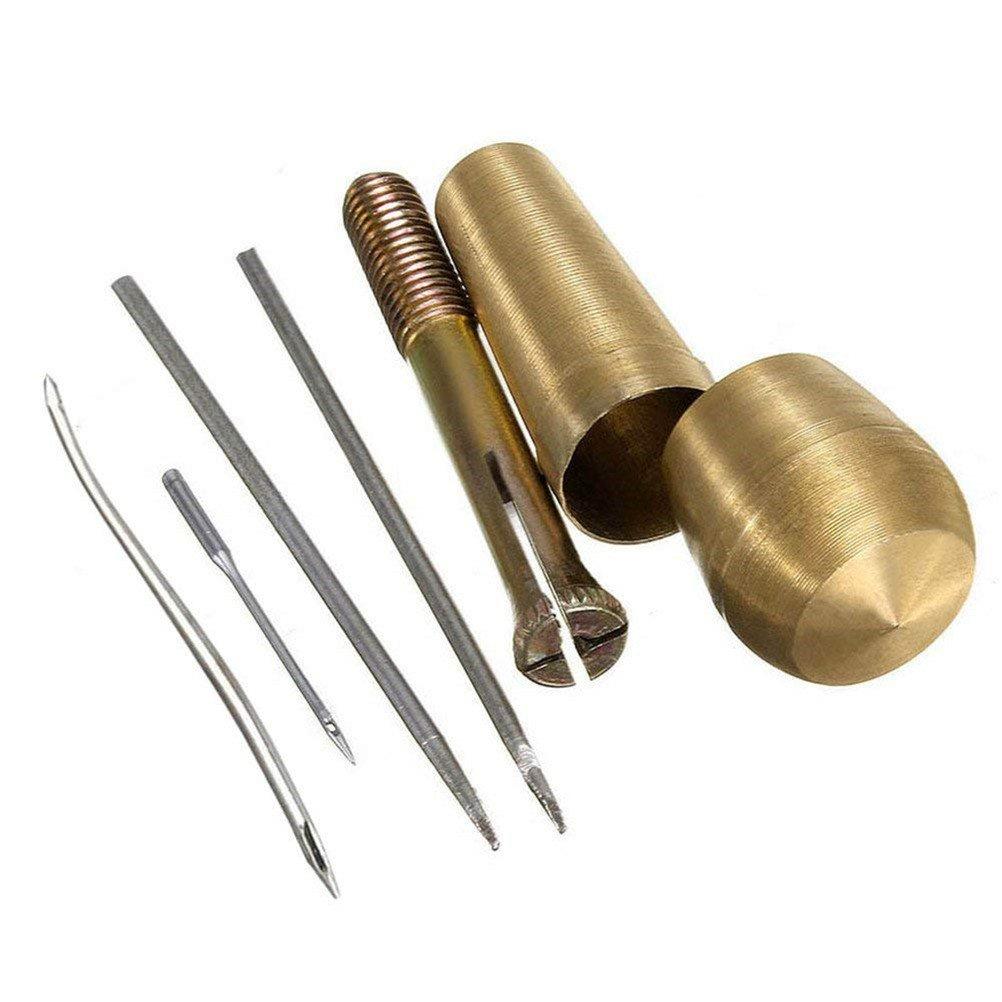 Qincling punteruolo manico in rame, 4aghi da cucito punteruolo kit di utensili a mano Stitcher shoe strumenti di riparazione per pelle tessuto artigianale tenda Sails tenda