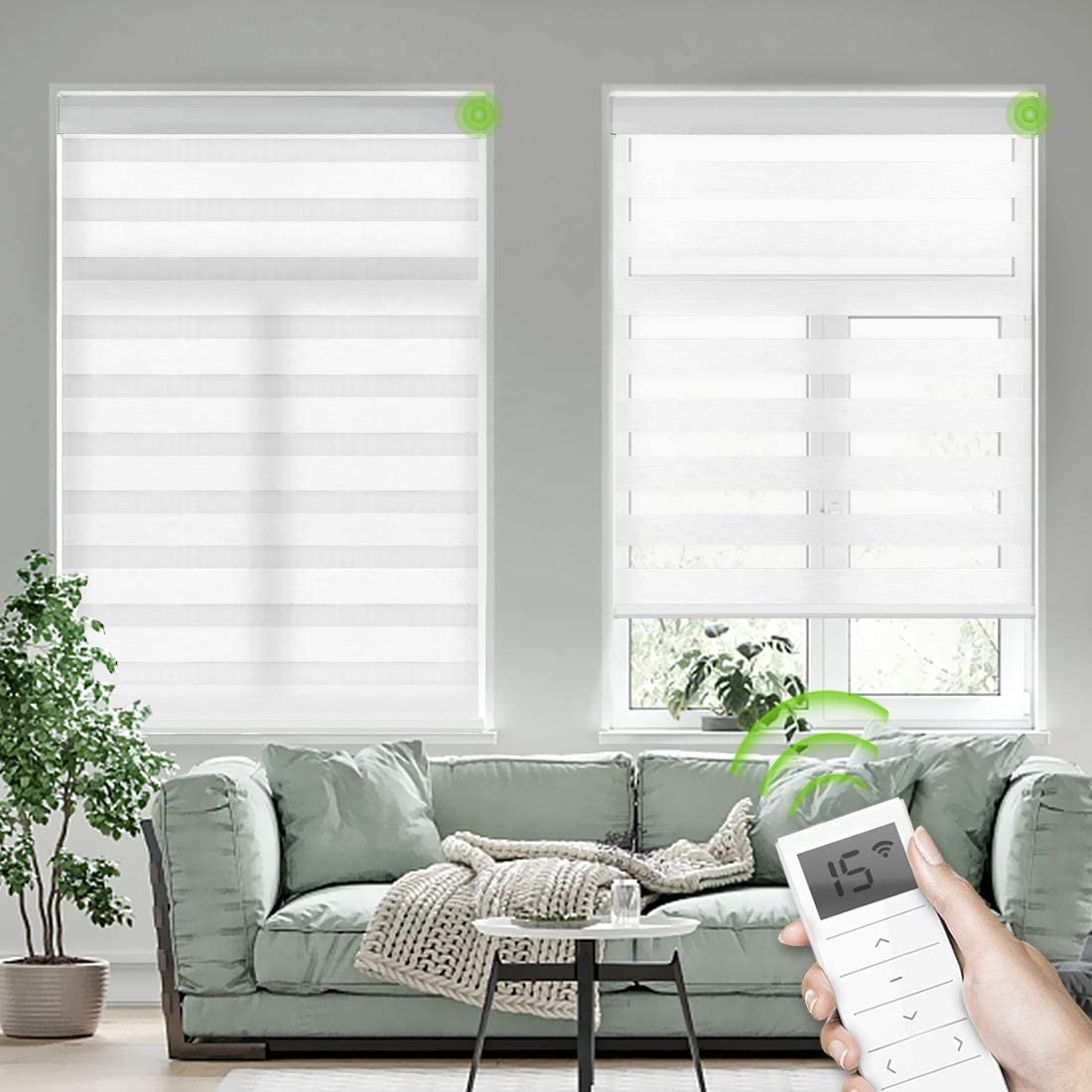 Yoolax Motorized Zebra Blinds Capable with Alexa Siri Rechargeable Battery Motor Dual Layer Sheer and Privacy Light Control Automatic Day and Night Shades (Pure White)