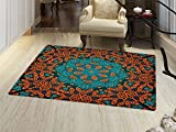 smallbeefly Psychedelic Floor Mat for kids Round Flowers Floral Patterns with Psychedelic Motif Boho Hippie Style Image Door Mat Increase Teal Orange