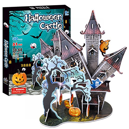 Halloween Castle 3D Puzzle Jigsaw for Kids,Creative Halloween Party Ghost Pumpkin Decorations DIY Model Learning Educational Children Boys Girls Gift -51 Pieces