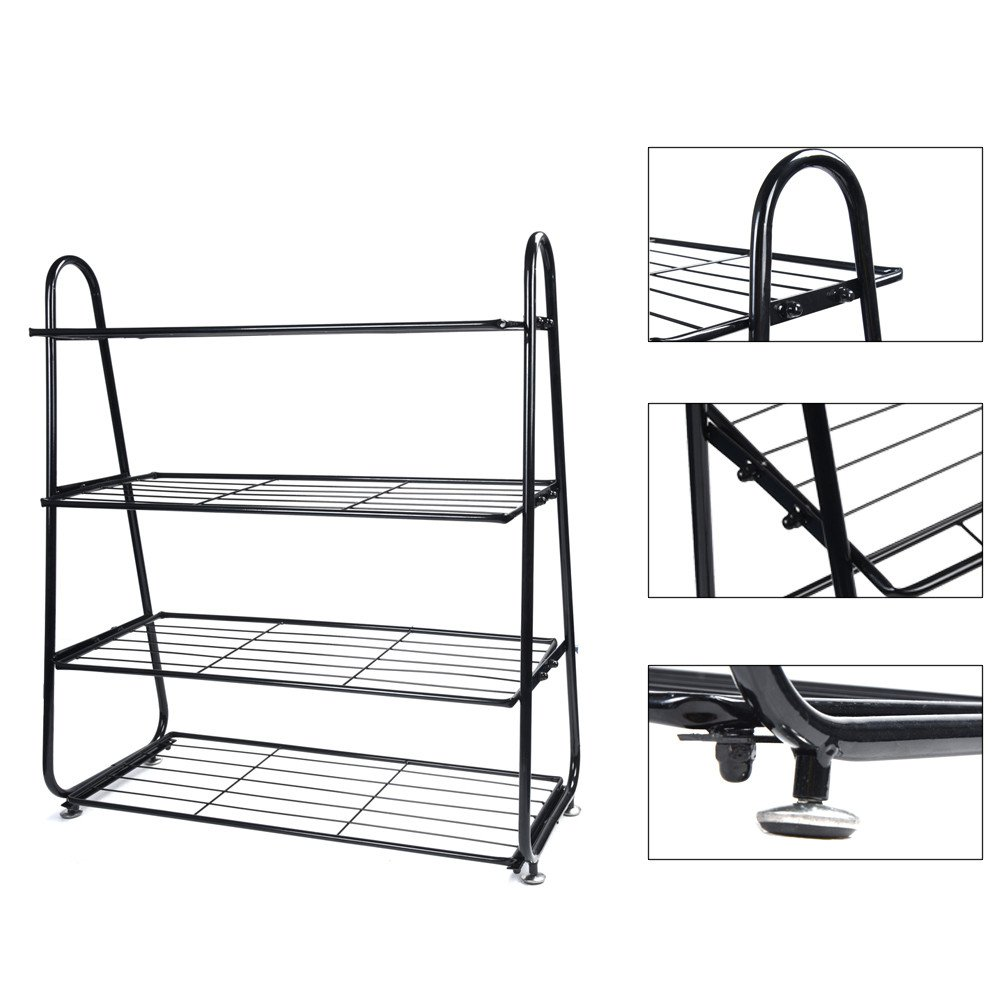 Rumas 4-Tier Stainless Steel Shoe Rack for Entryway - Moisture-Proof Shoe Shelves for Home Dormitory Hotel - Multilayer Shoe Storage Shoe Box Shoe Cabinet for Family - Shipped from US (Black)