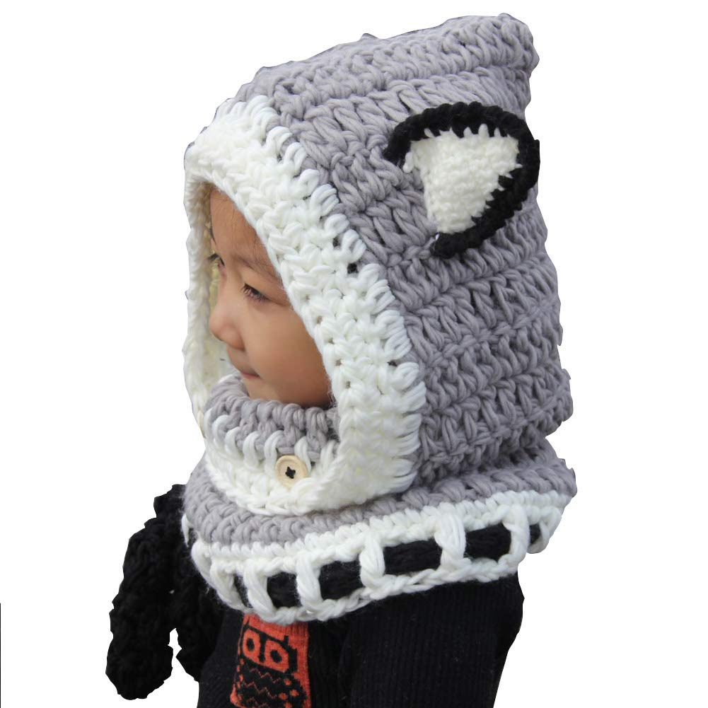 Cappello del fumetto di stile,ANGTUO Fox Scialle Cappello autunno e inverno sciarpa a maglia protezione del bambino con un cappello