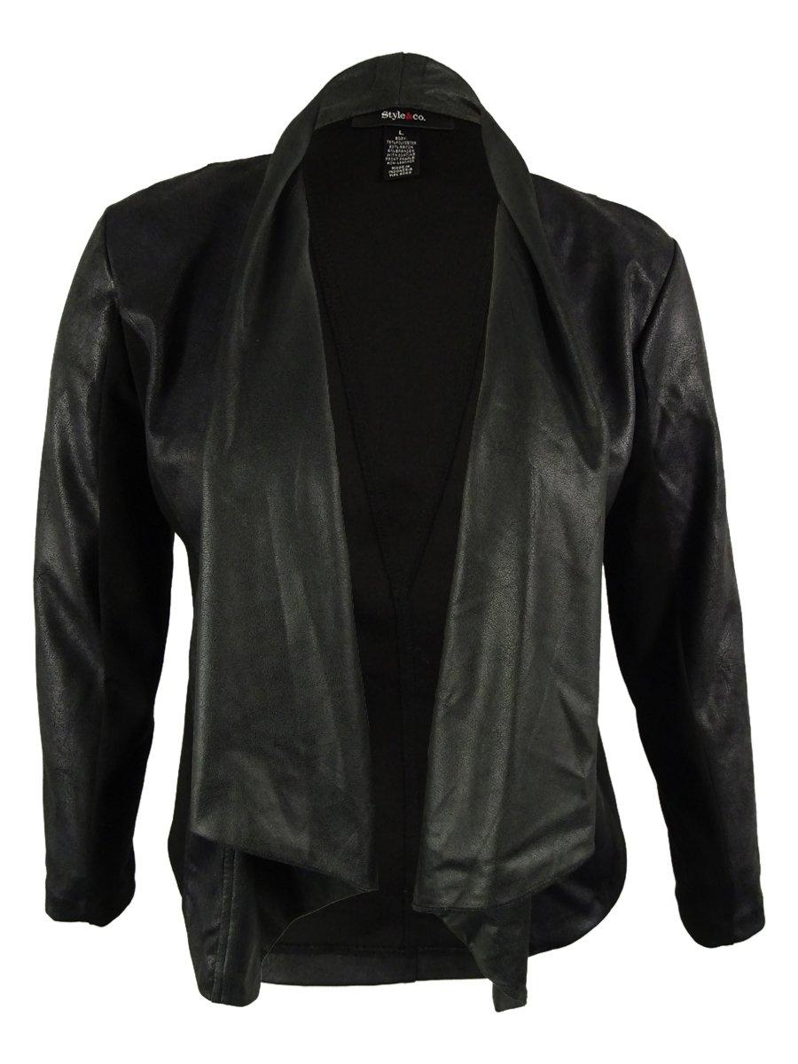 Style & Co. Women's Draped Front Jacket (PXL, Deep Black)