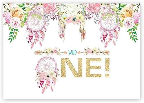 Custom Printable Girls Birthday Photo Invitation Floral Dreamcatchers Wild One