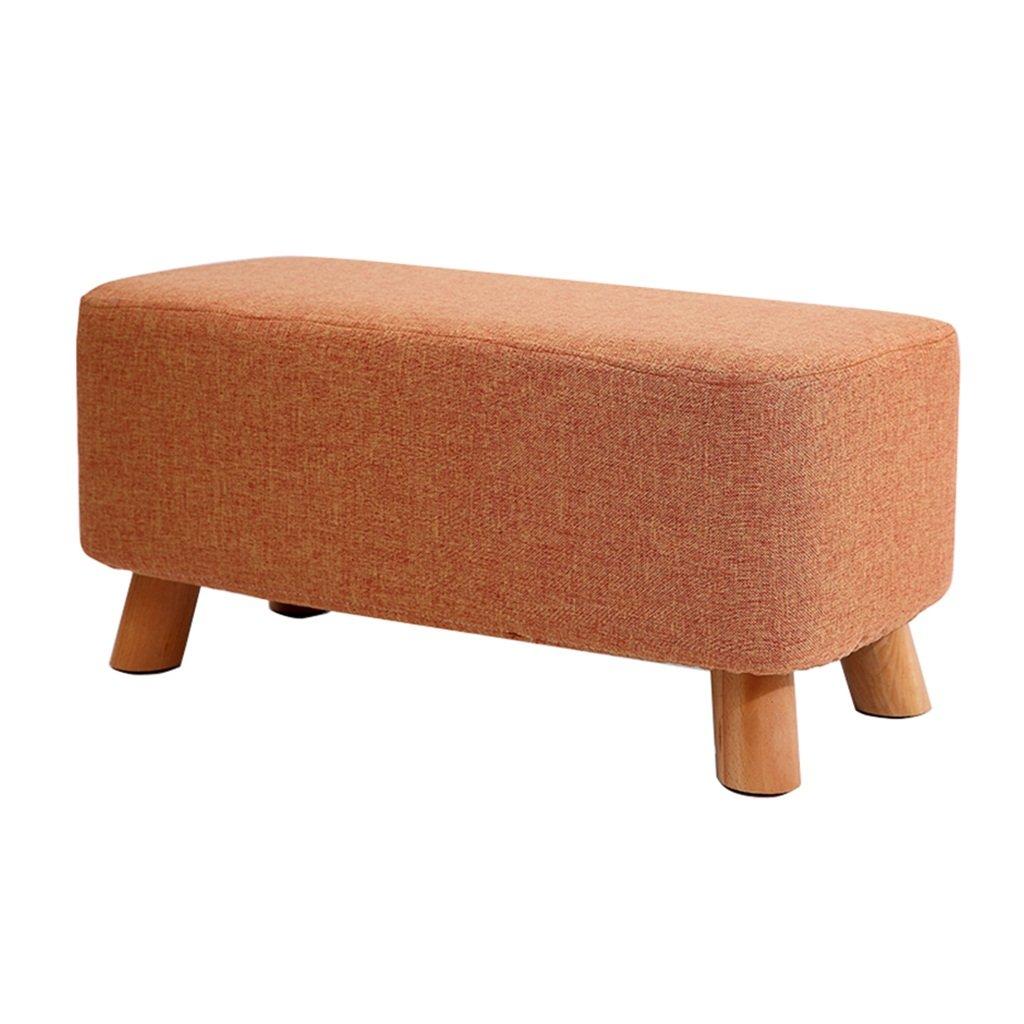 SJB Footstool Change Shoe Bench Stool Upholstered Ottoman Makeup Stool  Linen Fabric Seat Cushion with 4 Wood Legs,Orange Sofa Stool for Hallway Living  Room ...