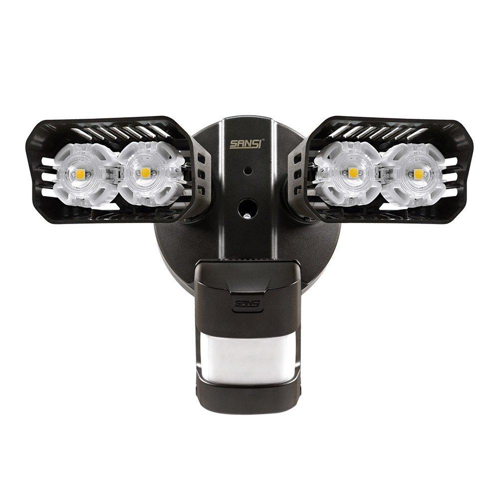 Sansi Neue Technologie LED Strahler mit Bewegungsmelder außen 18w 1800lm 5000k tageslichtweiß wasserdicht Schwarz [Energieklasse A++] LED0002-BK-GW