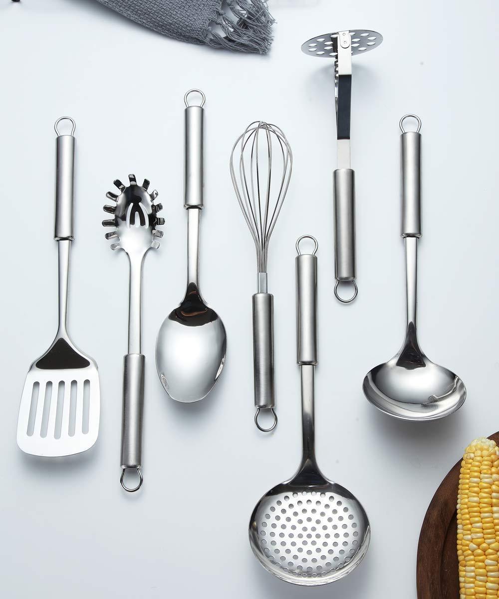 impasto per server schiumarola mestolo Berglander Utensile da cucina in acciaio inox 7 pezzi con 1 supporto accordatore intagliato frusta per uova frullatore di patate cucchiaio da portata