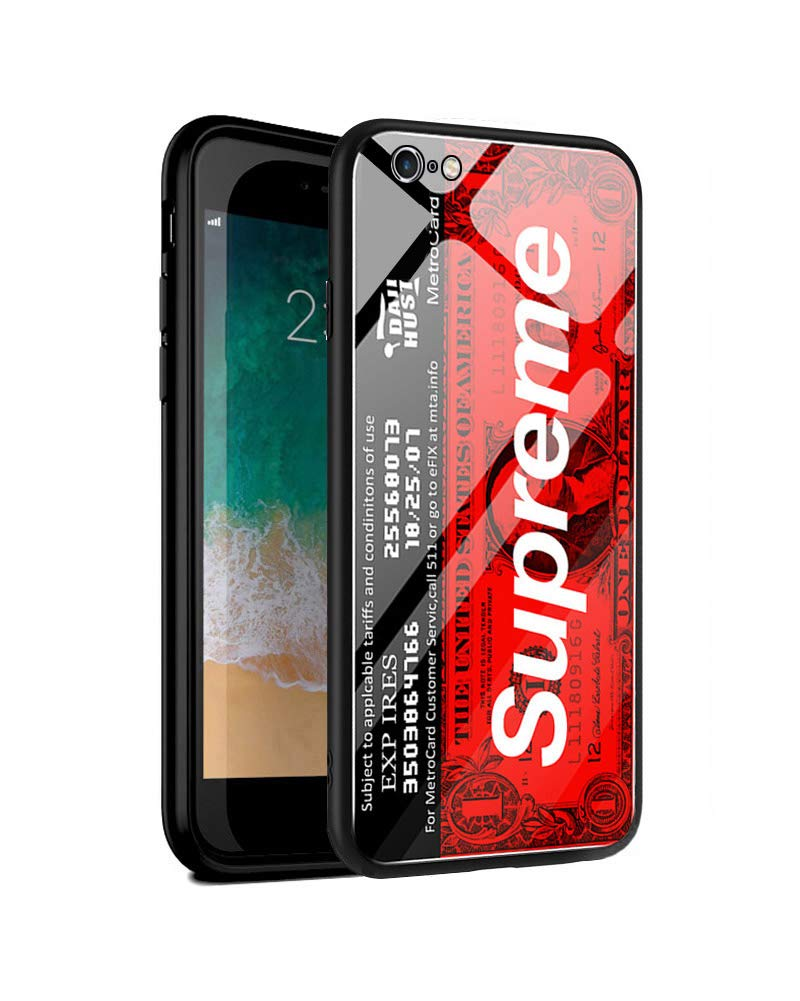 purchase cheap 1d76c 6d98e 9H Tempered Glass iPhone Luminous Series Case + Soft Silicone Bumper [Shock  Absorption] for iPhone (Supreme, iPhone 6 Plus/6s Plus 5.5 inch)
