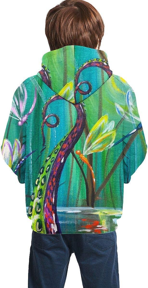 Kjiurhfyheuij Teens Pullover Hoodies with Pocket Octopus Feet Fairy Land Fleece Hooded Sweatshirt for Youth Kids Boys Girls