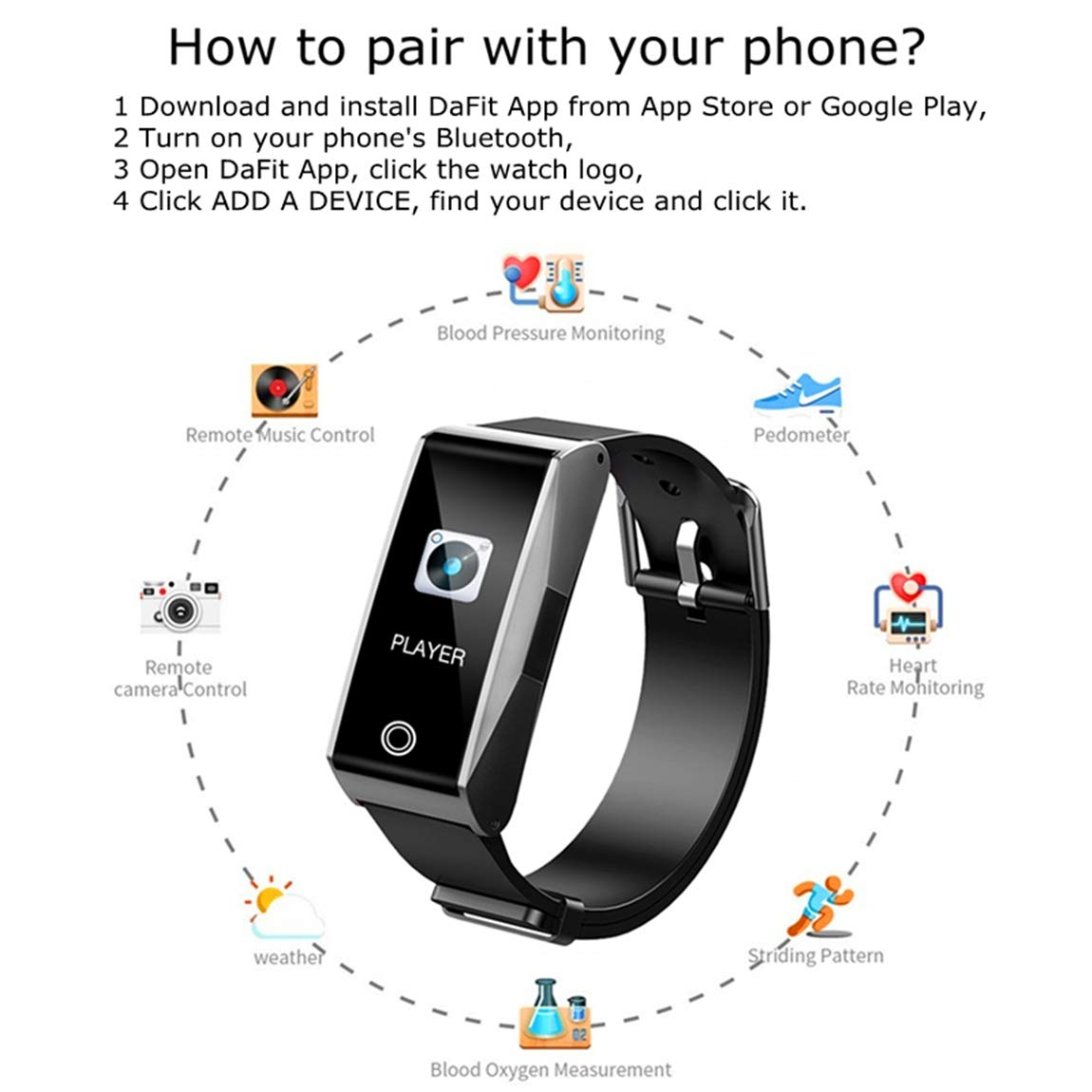 6a075293 Amazon.com : Fitness Tracker Watch Activity Smart Bracelet with Pedometer  Heart Rate Blood Pressure Sleep Monitor Weather Music Control IP67  Waterproof for ...