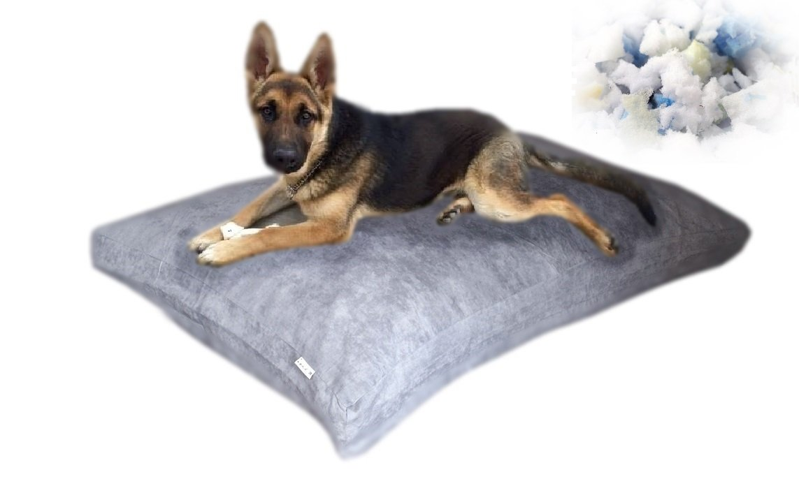 55''x37 Gray Microsuede Extra Large Size Mixed Shredded Memory Foam Premium Overfilled Pet Dog Orthopedic Pillow Bed with Waterproof - Resistant Inner Cover + FREE Bonus 2nd External Cover