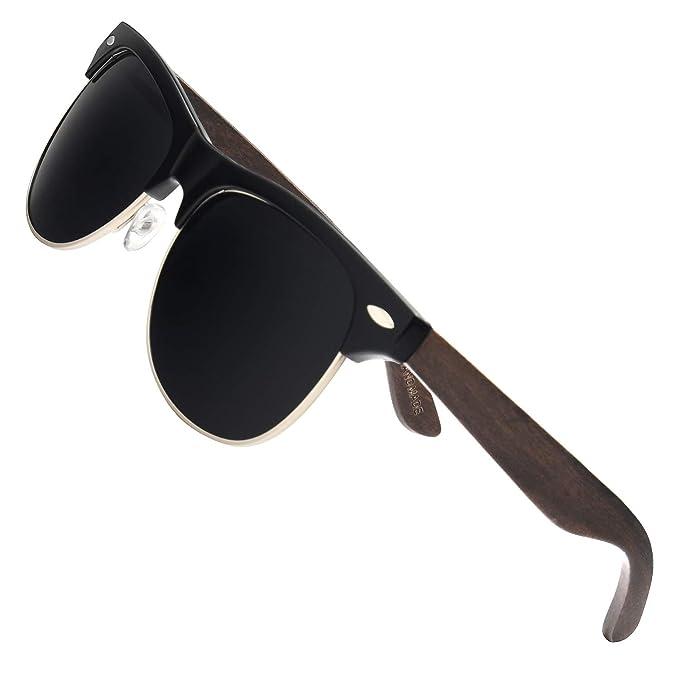 Amazon.com: Ablibi - Gafas de sol de madera de bambú semisin ...