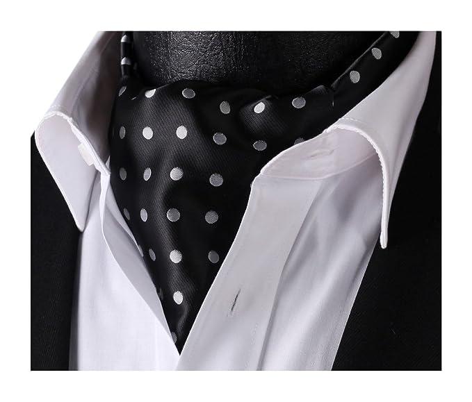 SetSense Men s Polka Dot Jacquard Woven Self Cravat Tie Ascot One Size  Black Gray 77878e00327