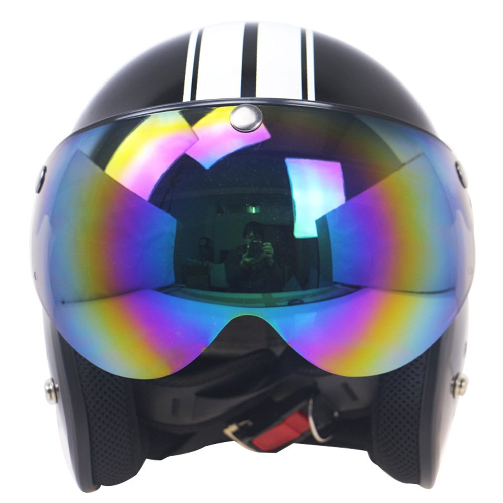 KKmoon Visera para Casco Motocicleta 3 Botones Homologado Universal