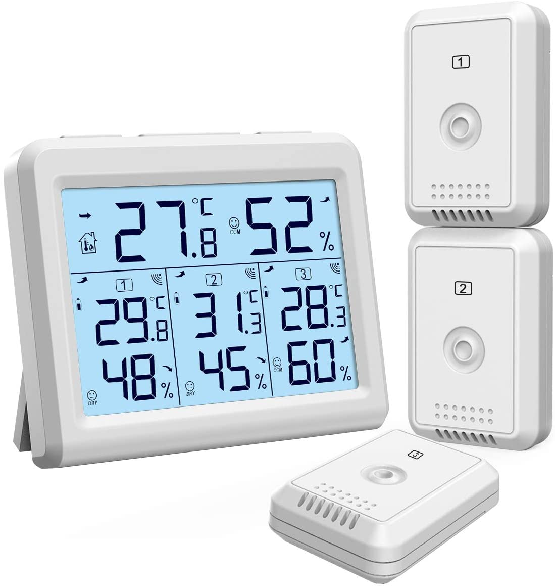 KeeKit Indoor Outdoor Thermometer, Digital Hygrometer Meter Gauge with 3 Wireless Sensors, Temperature Humidity Monitor with LCD Backlight, Min/Max Record for Home, Office, Restaurants, Bars, Cafe