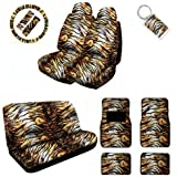 A Set of 2 Universal Fit Animal Print Low Back Front with Universal Bench Seat Covers, Wheel Cover, 2 Shoulder Pads 4 Floor Mats, and 1 Key Fob - Siberian tiger