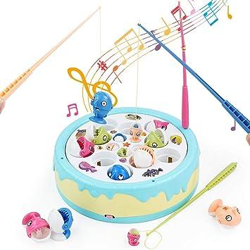 Fajiabao Juego de Pesca - Juegos de Mesa Juguetes de Pescar Música Juguetes Educativos Pascua Regalo para 3 4 5 Niños con 4 Cañas de Pescar: Amazon.es: Juguetes y juegos
