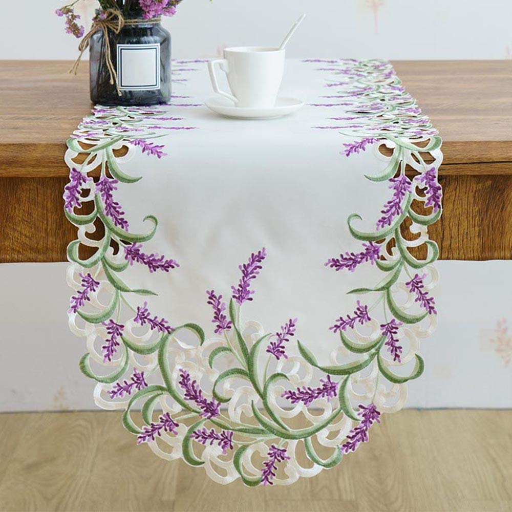 Jwkcm Luxury Beige Color Handmade Satin Cutwork Embroidered Lavender Lilac Oval Table Runner,40130cm