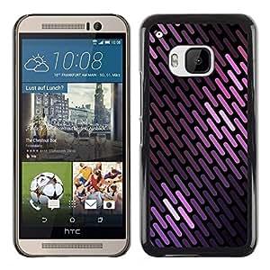 Colores púrpuras líneas modelo escamas negras - Metal de aluminio y de plástico duro Caja del teléfono - Negro - HTC One M9