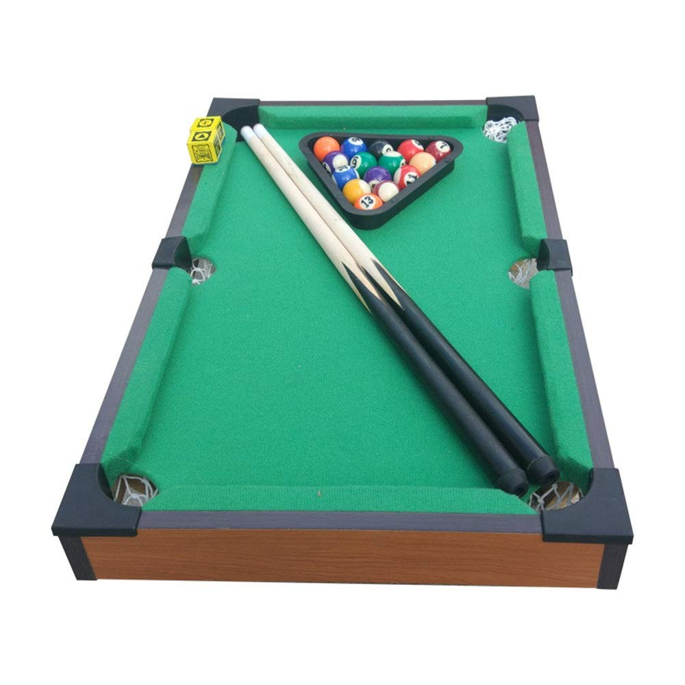 Ybriefbag-Sports Tabletop Billiards Tabletop Toy Miniature Billiard with Mini Pool Balls Cue Sticks Accessories for Adults Kids Desktop Pool Table Set Tabletop Toy Gaming (Color, Size : 51x31.5cm) by Ybriefbag-Sports