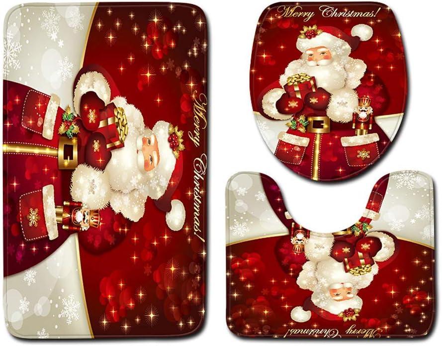 Hsarsup Christmas Bath Mats Set,3 Piece Bathroom Mats Set Anti-Slip Bathroom Rugs + Contour Mat + Toilet Cover for Christmas Decorations Soft Bathroom Rugs Set Red Santa Claus: Home & Kitchen