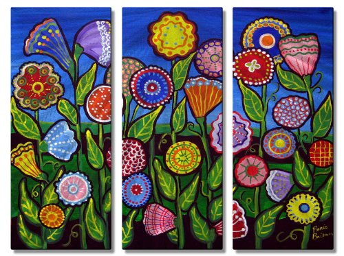 Metal Wall Art Set Floral Sculpture 3 Panel Home Wall Decor Fun Whimsical Flowers