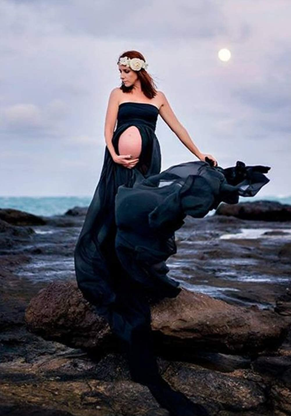 ZIUMUDY Maternity Chiffon Strapless Maxi Photography Dress Split Front Gown for Photoshoot