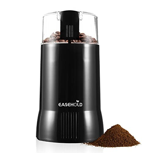 EASEHOLD 200W Electric Whole Coffee Grinder Bean and Spice Grindering with Stainless Steel Blade, 75g Capacity, Black