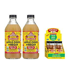 Bragg Organic Apple Cider Vinegar With the Mother 16 Ounce 2 Pack and Bragg Organic Apple Cider Vinegar Shot with Pineapple Cayenne 2 Ounce ACV Shot 4 Pack Bundle