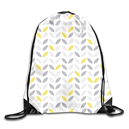TERESAWATKINS Grey and Yellow Leaves Men Women Sport Gym Sack Drawstring  Backpack Bag 556515330