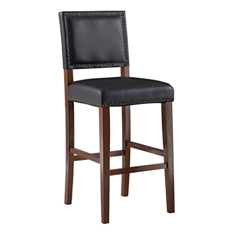 Astounding Linon Brook Black Bar Stool 18 5Wx 23Dx 45H Sapele Unemploymentrelief Wooden Chair Designs For Living Room Unemploymentrelieforg