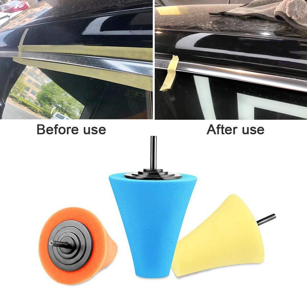Para Cuidado de las Automotriz Ruedas 3Pcs 1//4 6mm Shank Sponge Cone Metal Pulido Almohadilla de Espuma Lana Pulido Bola de Pulido