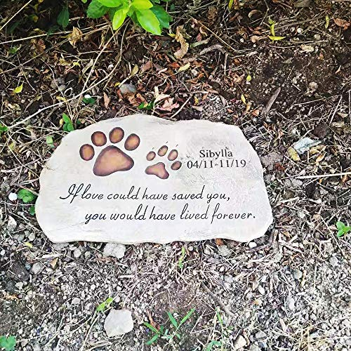 jinhuoba Personalized Dog Memorial Stone - Engraved with The Name of The Pet and The Date, Evergreen Garden Memorial Stone- Pet Loss Gift (Customize-3) (Stones Stepping Dog)