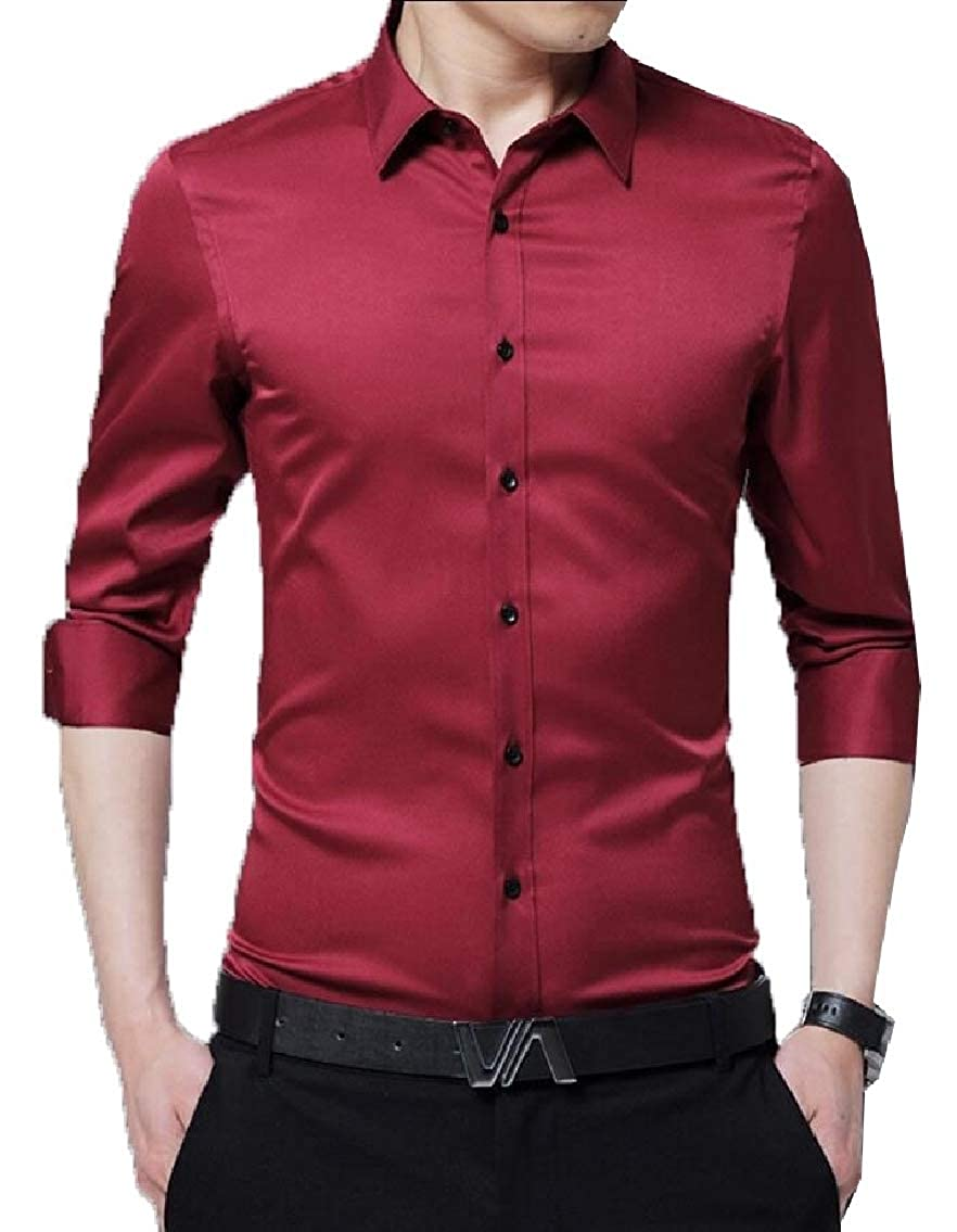 Gocgt Mens Business Slim Fit Cotton Long Sleeves Solid Button Down Dress Shirts