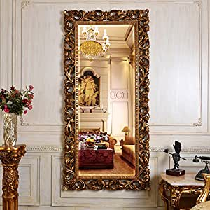 Oversized wall mirror Antique Baroque Gold mirror for home office Loft wall placed Wall Decor, French Style hanging Wall Mirror