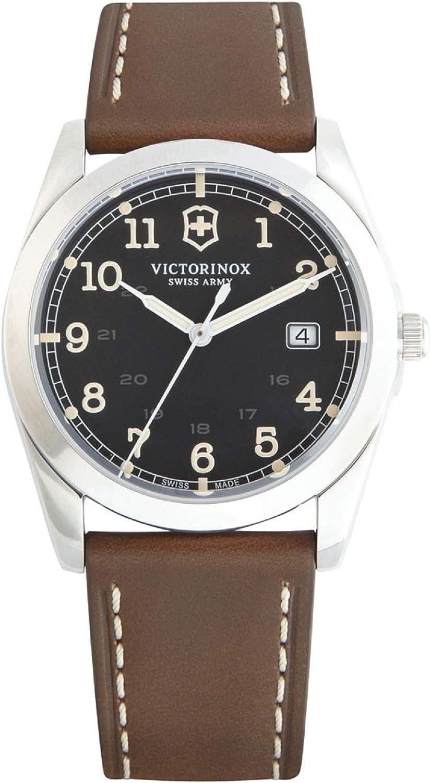 Victorinox Infantry Black Dial Leather Strap Mens Watch 241563XG Renewed