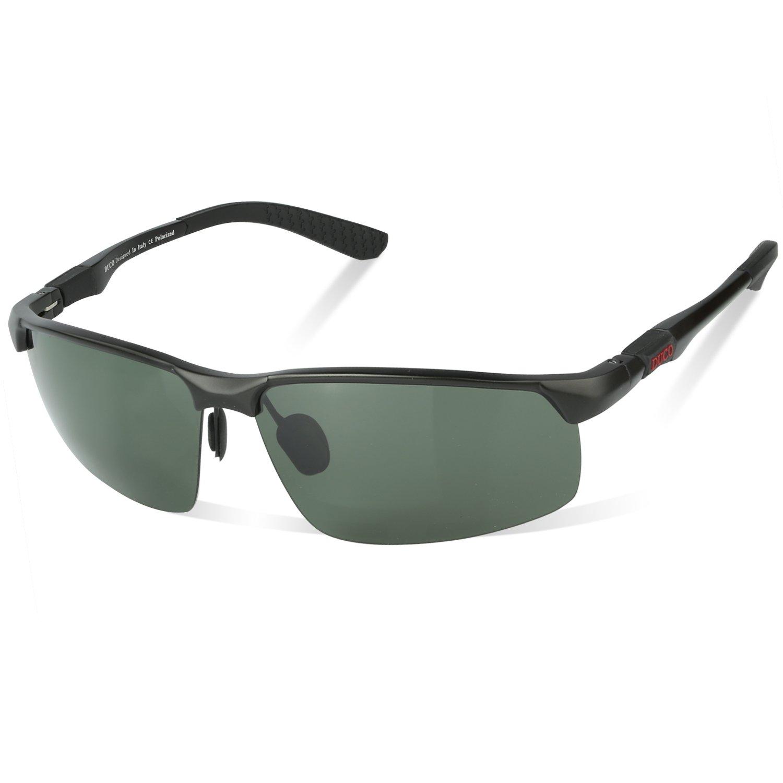 Duco Men's Fashion Driving Polarized Sunglasses Sports Eyewear Fishing Goggles with Al-Mg Frame 8188(Black Frame Green Lens)