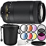 Nikon AF-P DX NIKKOR 70-300mm f/4.5-6.3G ED Lens 10PC Accessory Bundle - Includes 3 Piece Filter Kit (UV + CPL + FLD) + 4PC Macro Filter Set (+1,+2,+4,+10) + MORE (Certified Refurbished)